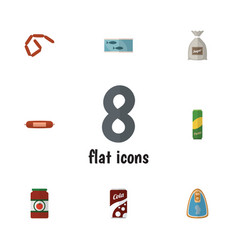 flat icon meal set of sack fizzy drink kielbasa vector image
