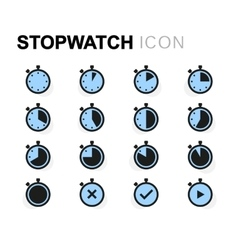 flat stopwatch icons set vector image