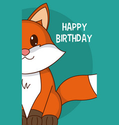 Fox cute birthday card vector
