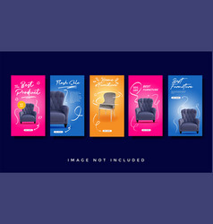 Furniture instagram stories promotion template vector