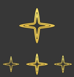 Gold line cross logo design set vector