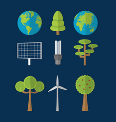 Green energy and world collection vector