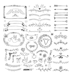 Hand drawn floral page elements swirls ribbons vector