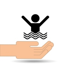 Hand holding swimmer design vector