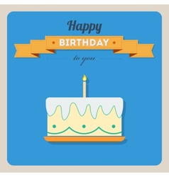 Happy birthday card with a cake and candles vector