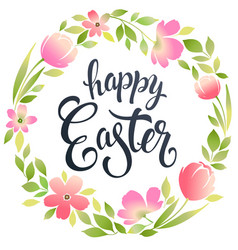 happy easter typography background with wreath and vector image
