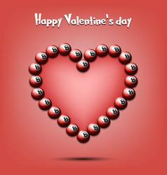 Happy valentines day heart from billiard balls vector