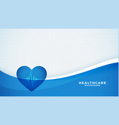 Heart with cardiograph line medical blue vector
