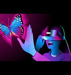 helmet virtual reality vector image