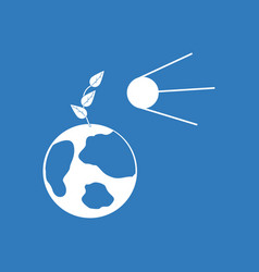 Icon satellite and earth vector