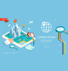 isometric gps navigation template vector image