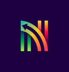 letter n logo with arrow inside vector image