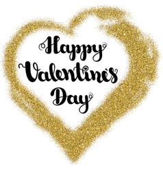 lettering happy valentines day in frame heart vector image