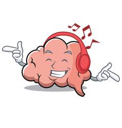 listening music brain character cartoon mascot vector image vector image