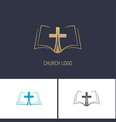 Logo of the church christian symbols a book with vector