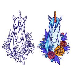magical cute unicorn cartoon fantasy vector image