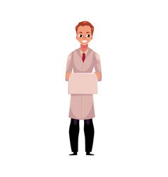 Male doctor in medical coat holding blank sign for vector