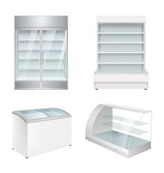 Market refrigerators empty commercial equipment vector