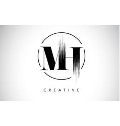 mh brush stroke letter logo design black paint vector image