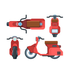modern red scooter bike flat set vector image