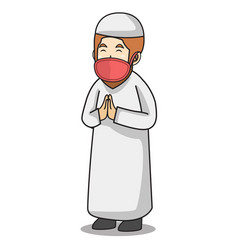 Muslim man with white dress traditional vector