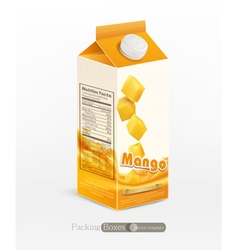 Pack mango juice isolated on white background vector