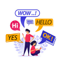 People greet each other and chatting bubble vector