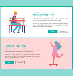 people in park girl skateboarding and lonely man vector image