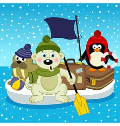 Polar bear walrus penguin travel on floe vector