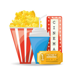Popcorn with soda and tickets to cinema vector