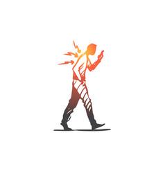 Posture bad spine phone walk concept vector