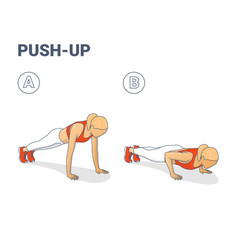 push-ups exercise sporty girl silhouettes vector image