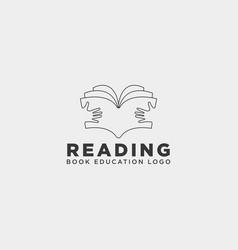 Reading book magazine education simple logo vector