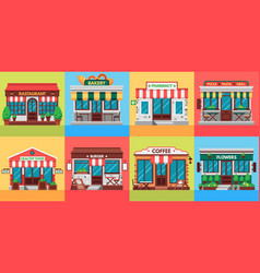 restaurants and shops facades old shop building vector image