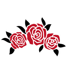 roses tattoo red roses black silhouette vector image
