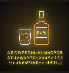 Rum neon light icon bottle and old-fashioned vector