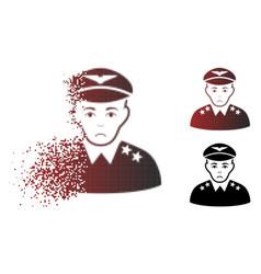Sad disintegrating pixelated halftone military vector