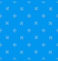 seamless airplane pattern flying plane on blue vector image