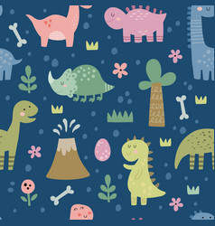 Seamless pattern with cute funny dinosaurs vector