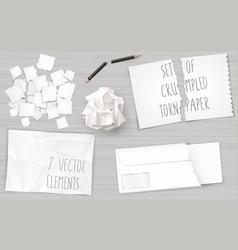 set creasy paper sheets vector image