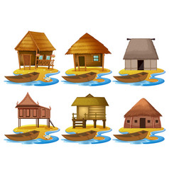 Set of different wooden house vector