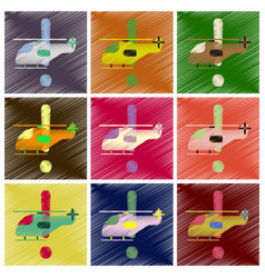 set of flat icons in shading style helicopter vector image