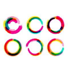 Set of grange circles color circle brush vector