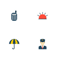 set of safety icons flat style symbols with vector image