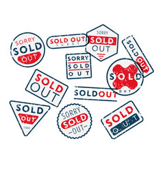 Set of sold out stamps vector