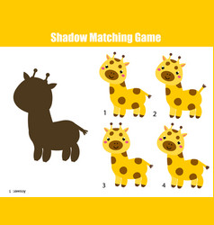 shadow matching game kids activity with cartoon vector image