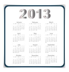 Simple 2013 year calendar eps10 vector image vector image