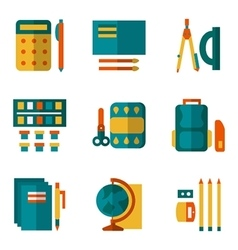 Simple color icons set for school supplies vector image