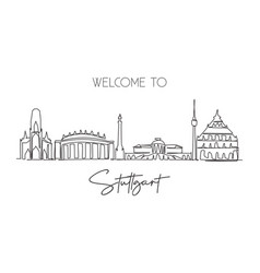 single continuous line drawing suttgart city vector image