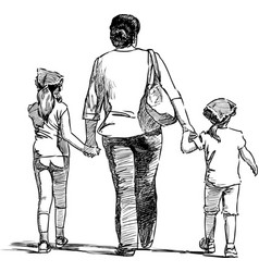 sketch a mother with her daughters going on a vector image